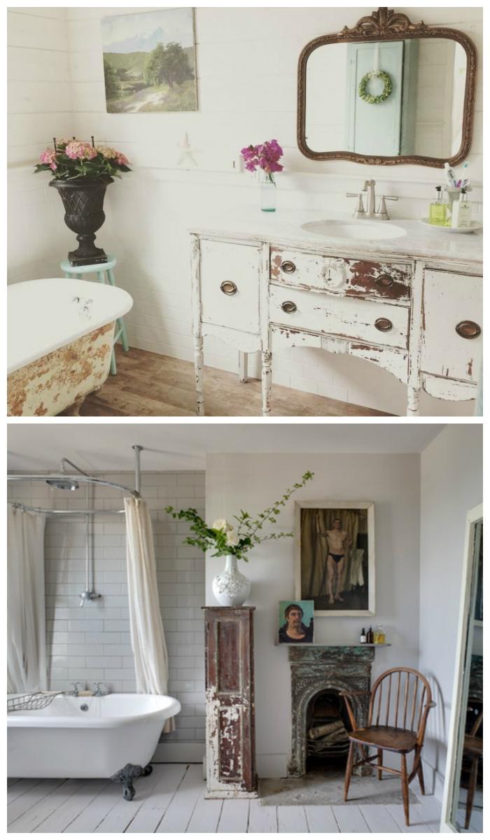 Дизайн ванной в стиле шебби-шик