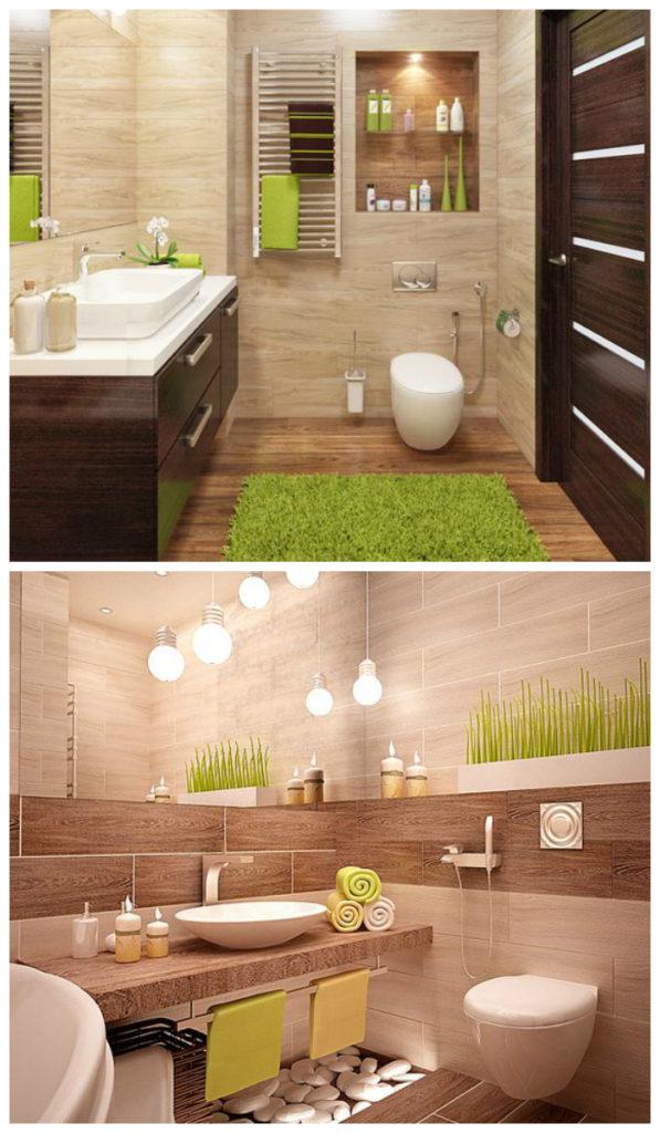 """Интерьер ванной в """"природной"""" цветовой гамме"""