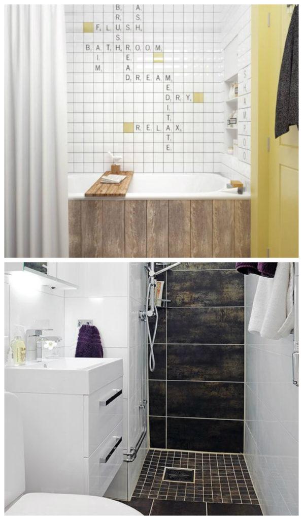 Стильное оформление небольшой ванной 2017, фото