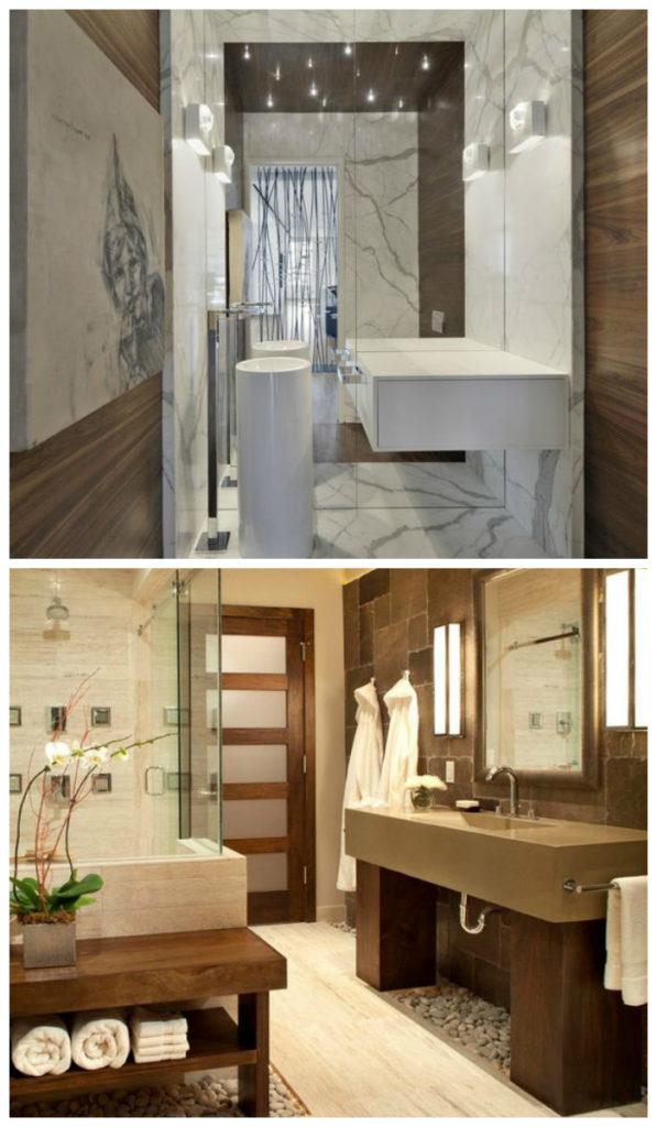 Дизайн ванной 2017: отделка натуральными материалами