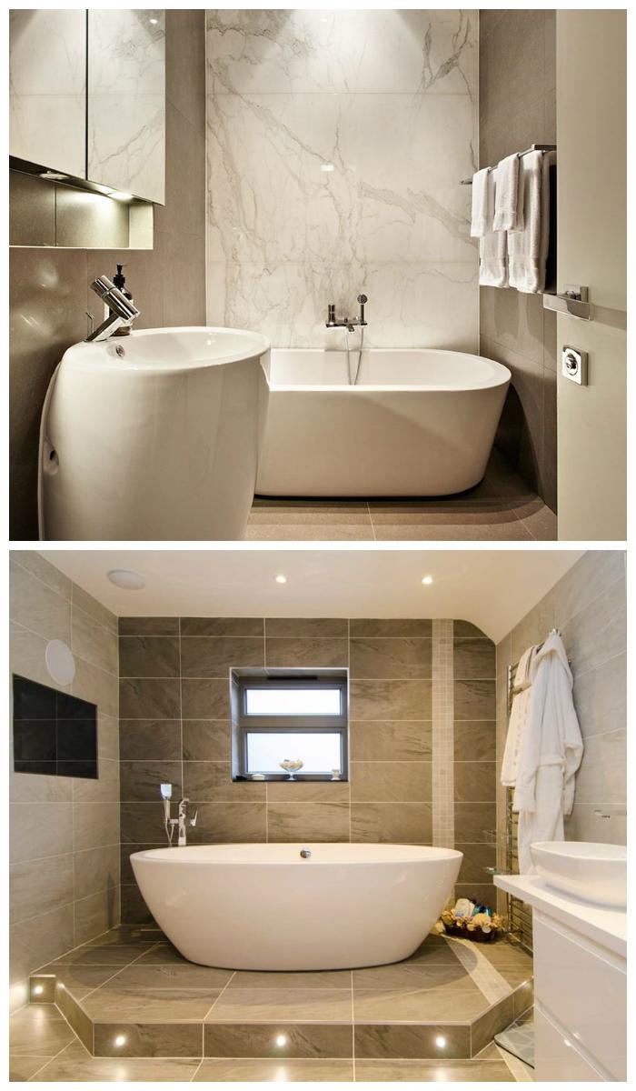 Дизайн ванной с нейтральных тонах, фото