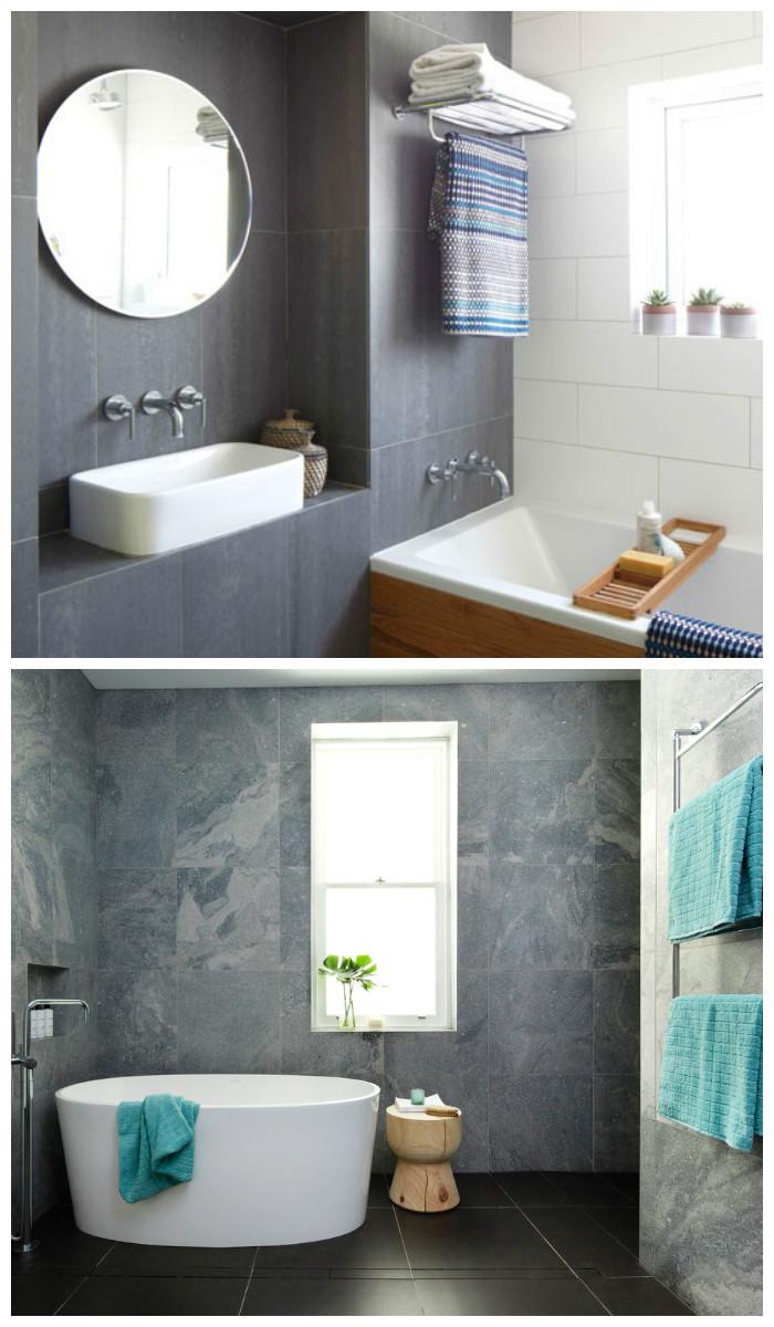 Дизайн ванной комнаты в урбанистическом стиле, фото