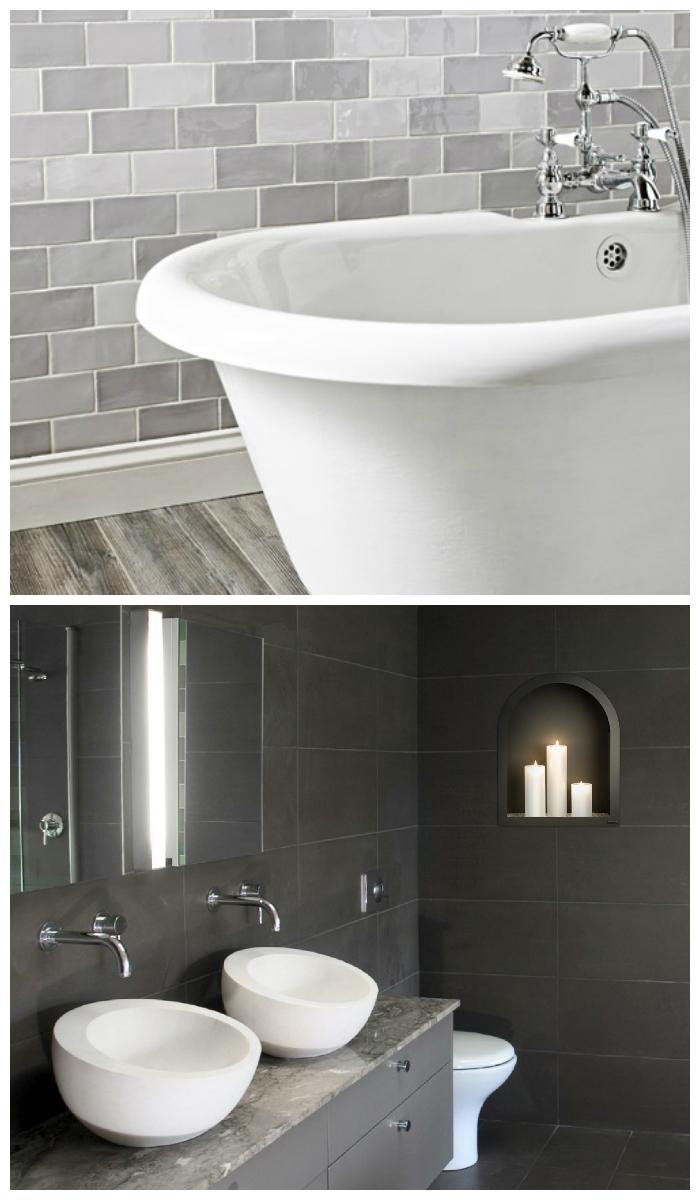 Стильная серая плитка в ванной