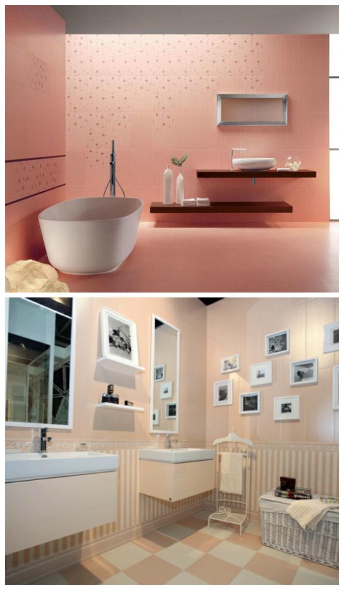 Оформление ванной розовой плиткой