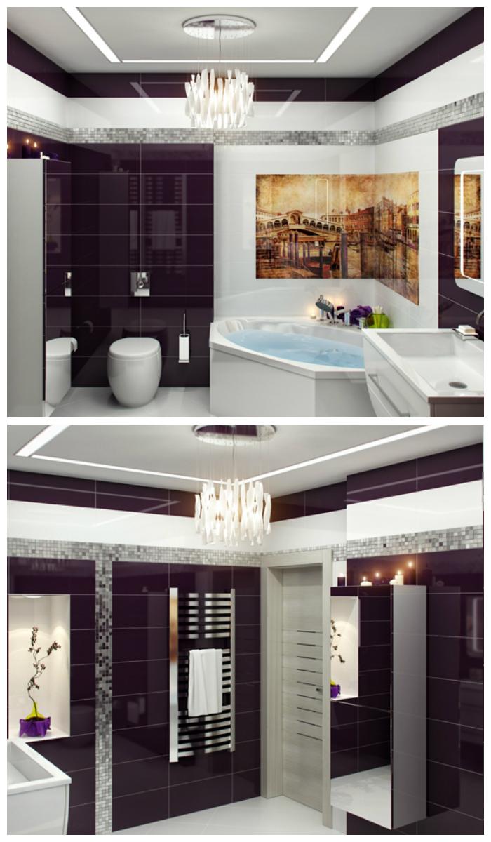 Фиолетовый интерьер ванной с плиткой