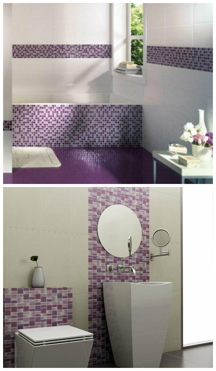 Фиолетовая мозаика в ванной