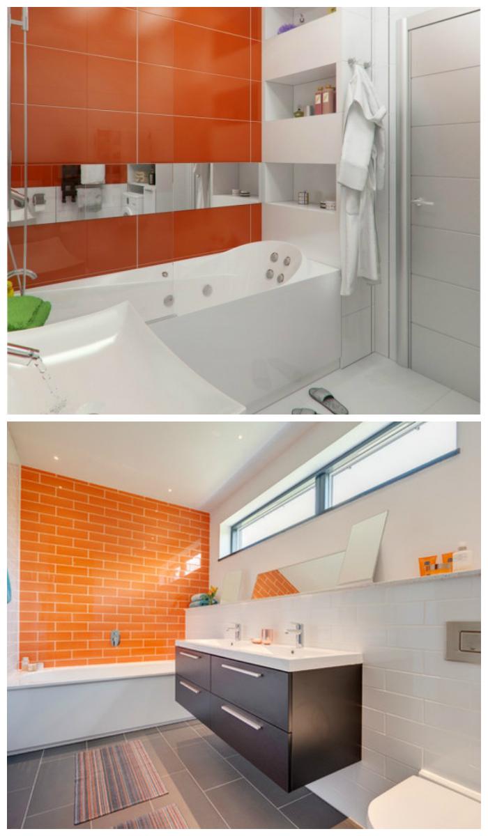 Оранжевая ванная, облицованная плиткой