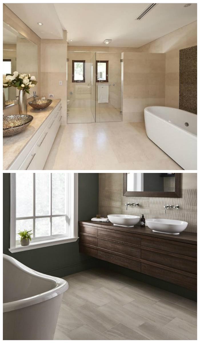 Декор ванной в теплых тонах