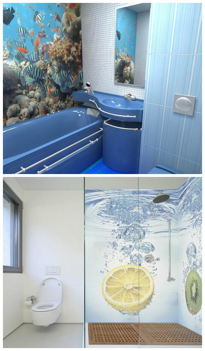 Отделка ванной пластиковыми панелями с 3D-изображениями