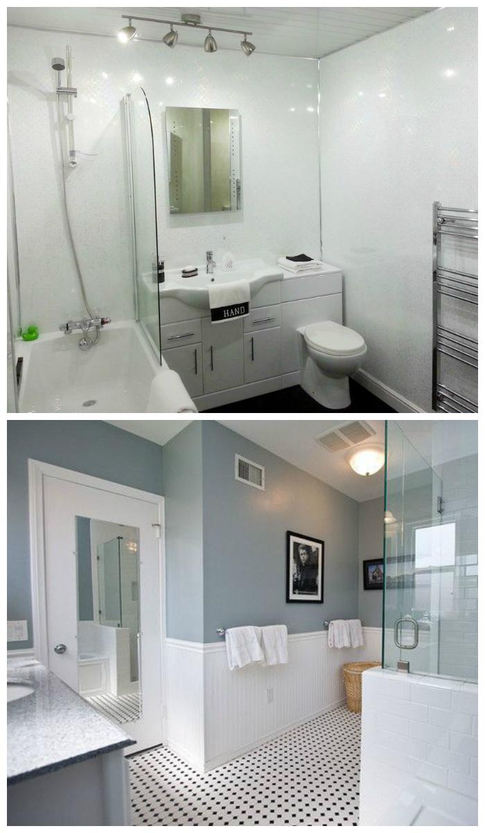 Фото современной отделки ванной комнаты пластиковыми панелями