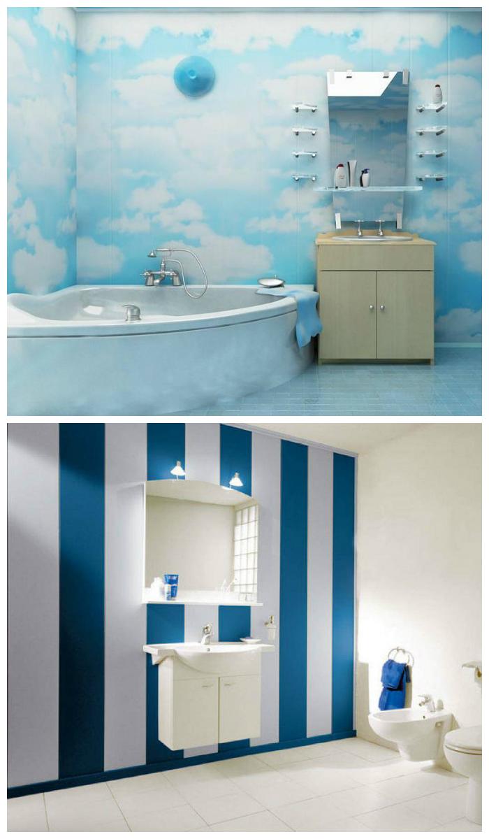 Отделка ванной пластиковыми панелями с рисунком