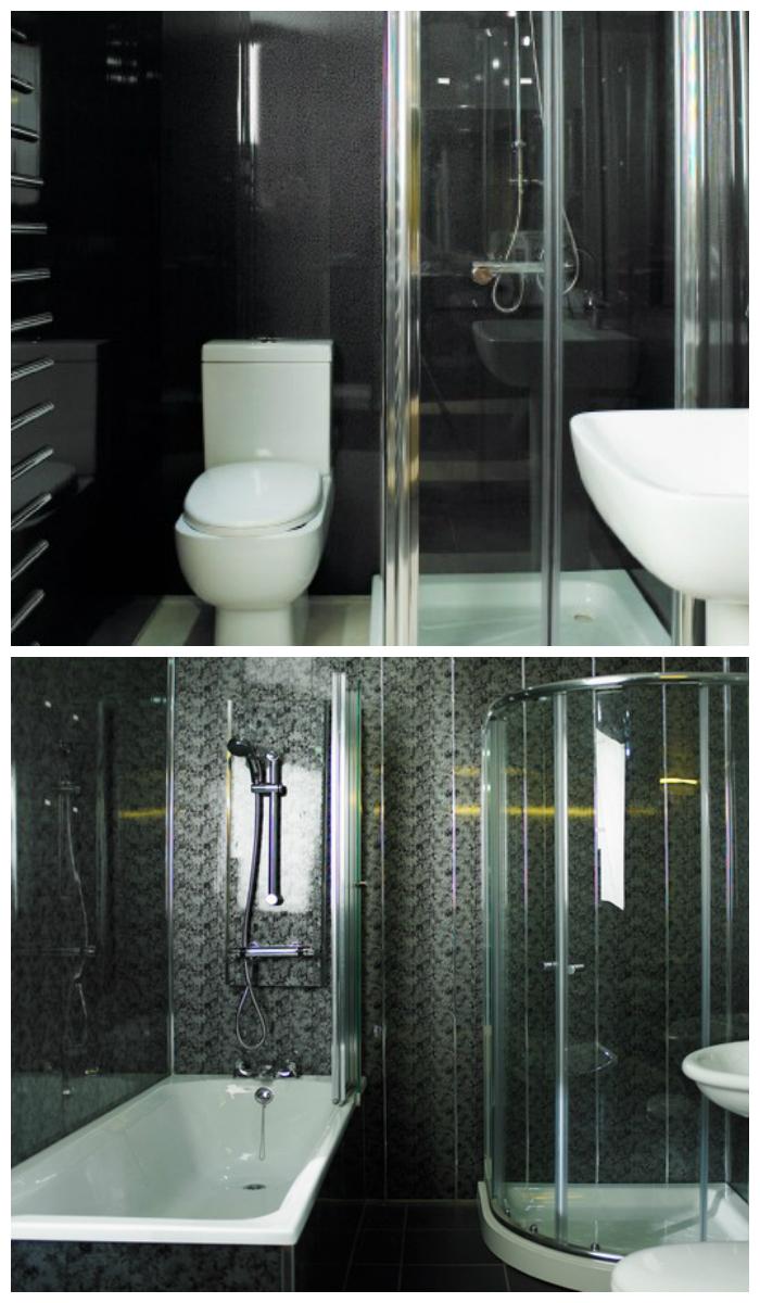 Интерьер ванной с черными пластиковыми панелями