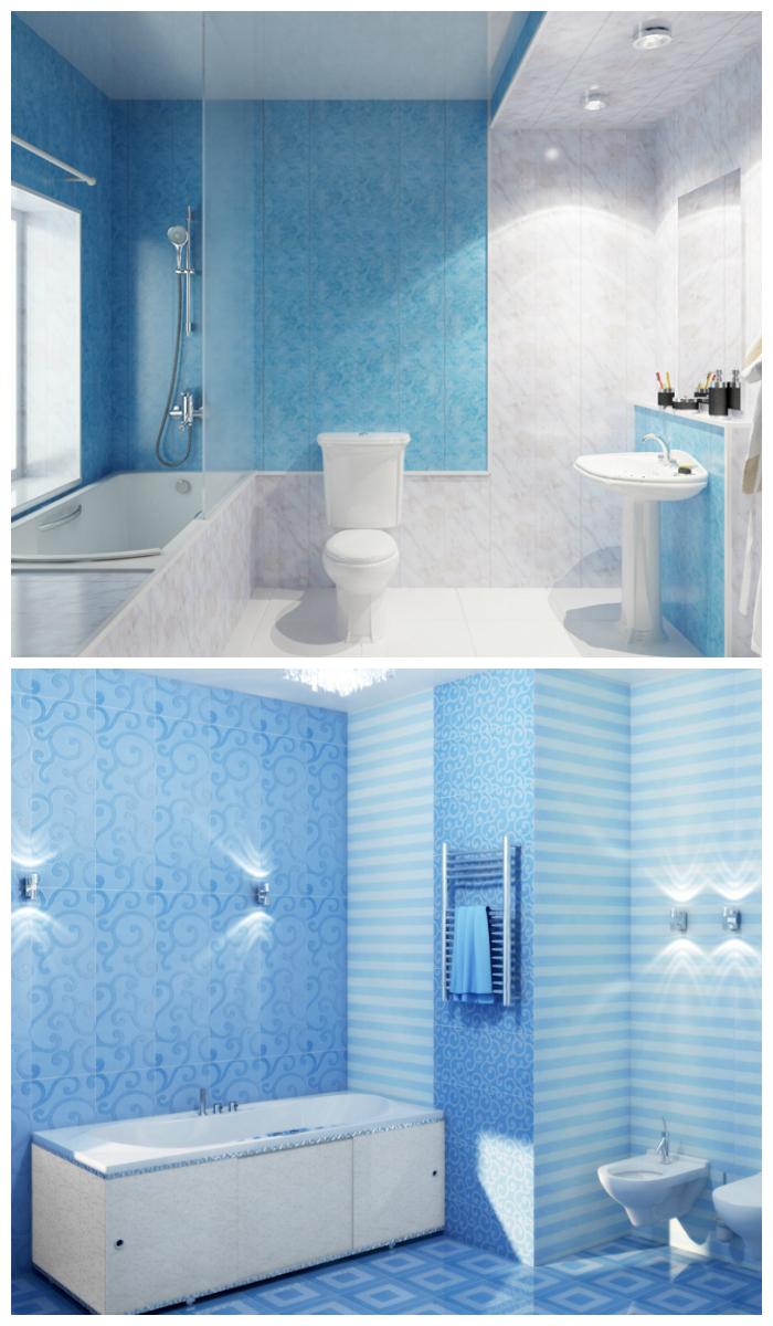 Отделка ванной пластиковыми панелями в бело-голубой цветовой гамме