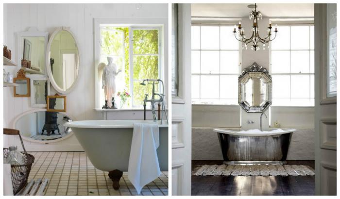 Дизайн ванной комнаты в стиле шебби-шик