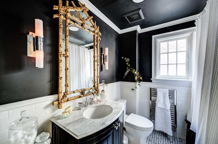 Дизайн ванной комнаты в чёрно-белом цвете