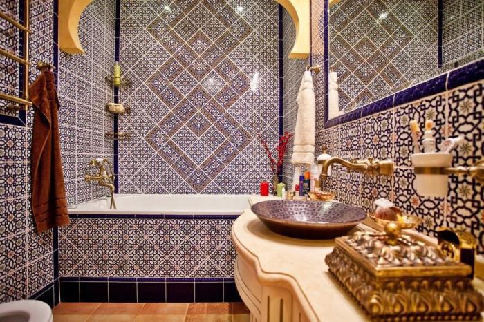 Дизайн ванной комнаты в синем цвете