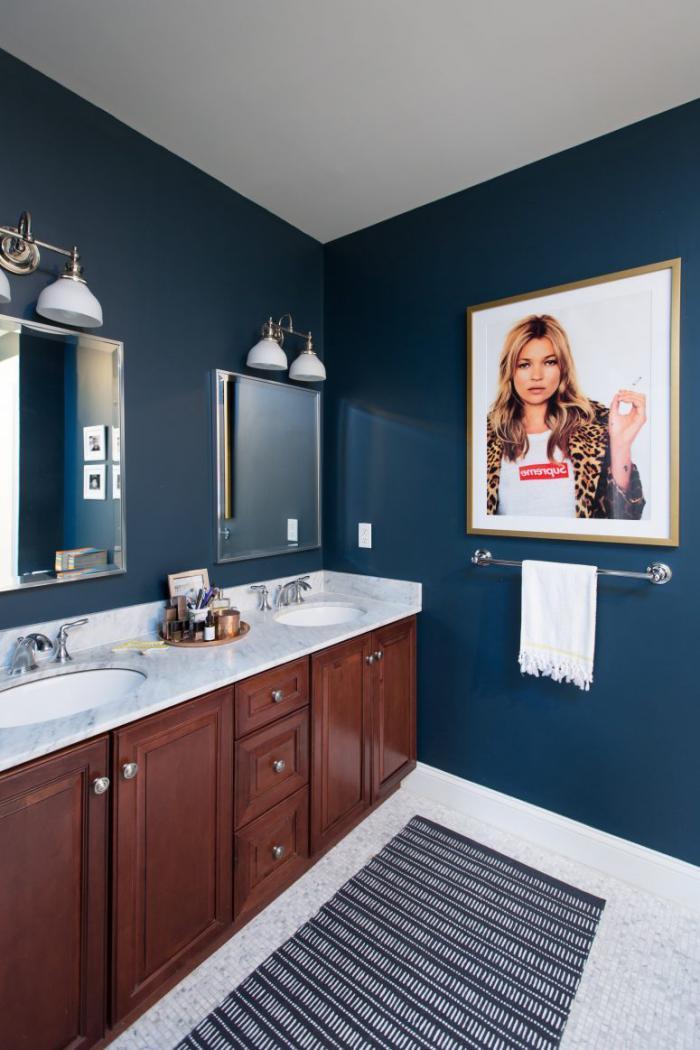 Серо синяя плитка для ванной