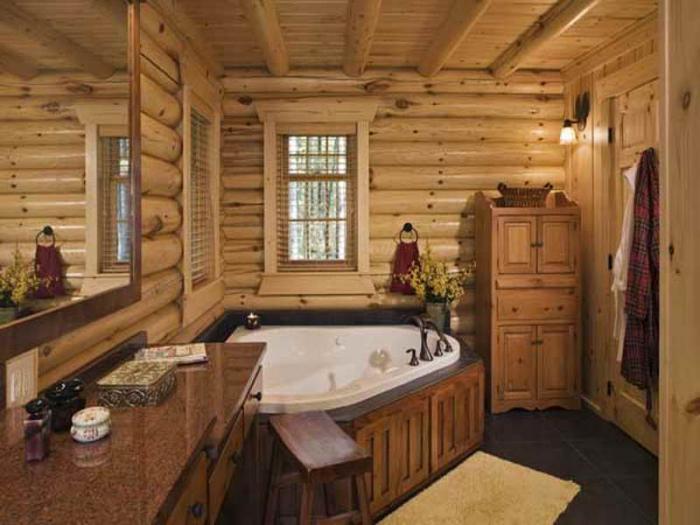 Ванная в деревянном доме